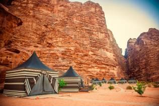 Campo tendato del deserto del Wadi Rum